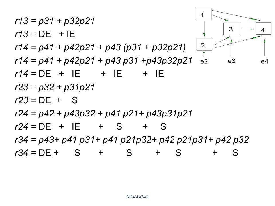 r13 = p31 + p32p21 r13 = DE + IE r14 = p41 + p42p21 + p43 (p31 + p32p21) r14 = p41 + p42p21 + p43 p31 +p43p32p21.