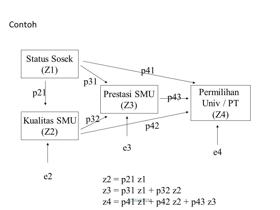 Contoh Status Sosek (Z1) p41 p31 p21 Prestasi SMU (Z3) Permilihan