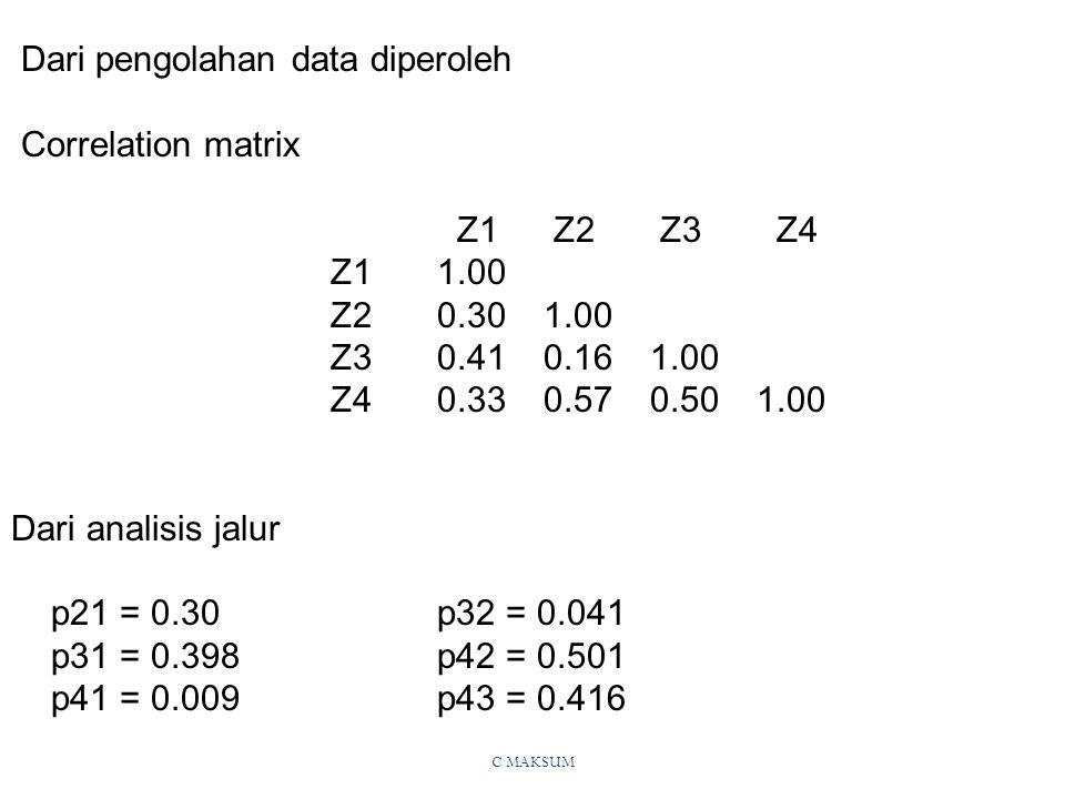 Dari pengolahan data diperoleh Correlation matrix Z1 Z2 Z3 Z4 Z1 1.00