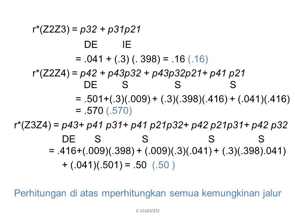 r*(Z2Z3) = p32 + p31p21 DE IE = .041 + (.3) (. 398) = .16 (.16)