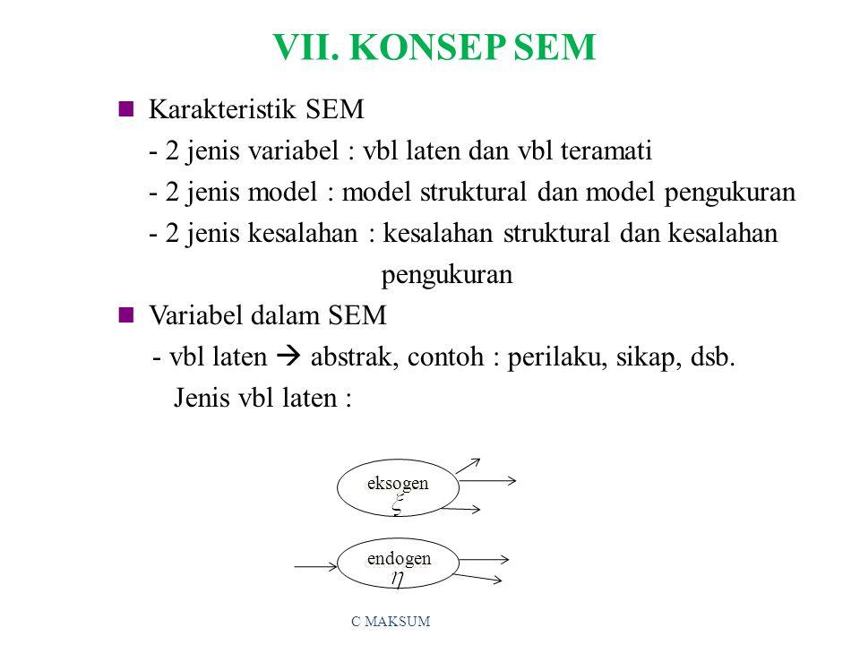 VII. KONSEP SEM Karakteristik SEM