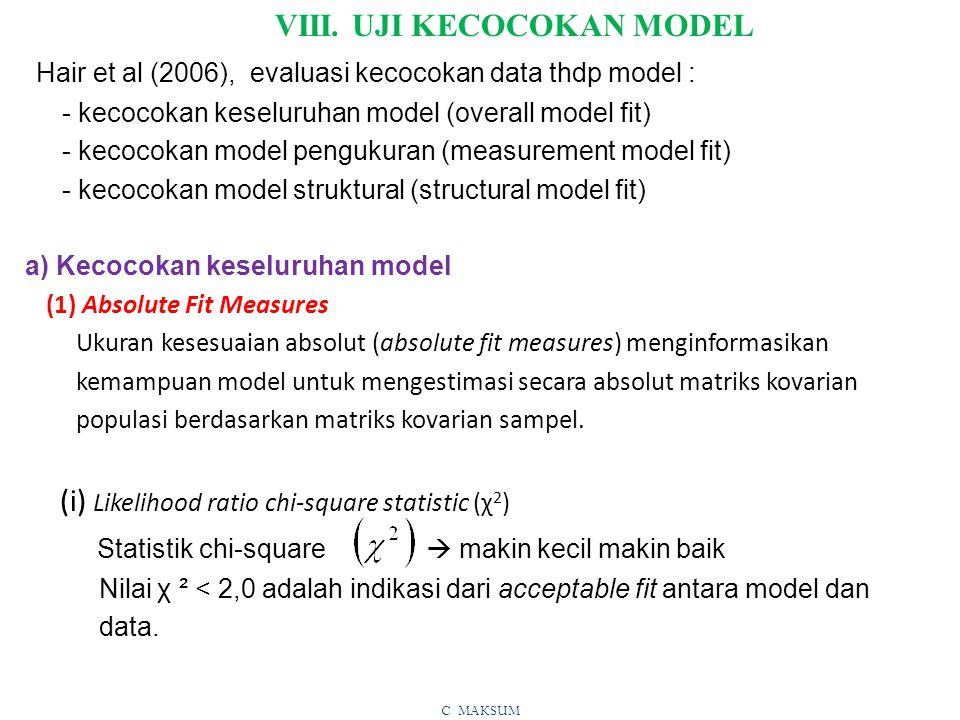 VIII. UJI KECOCOKAN MODEL
