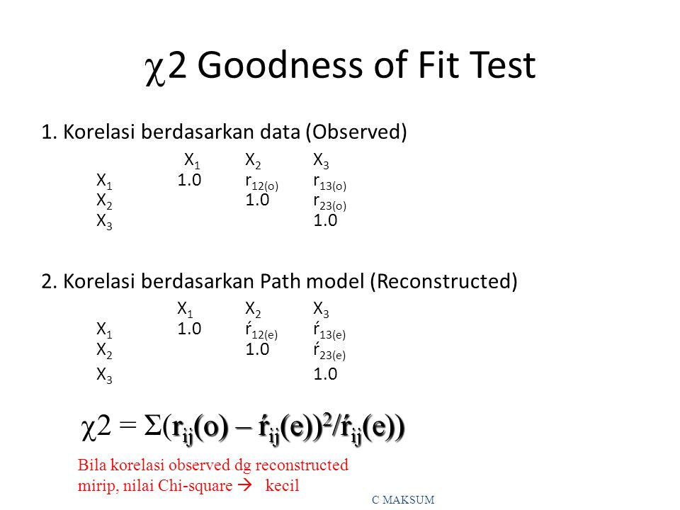 2 Goodness of Fit Test 2 = Σ(rij(o) – ŕij(e))2/ŕij(e))
