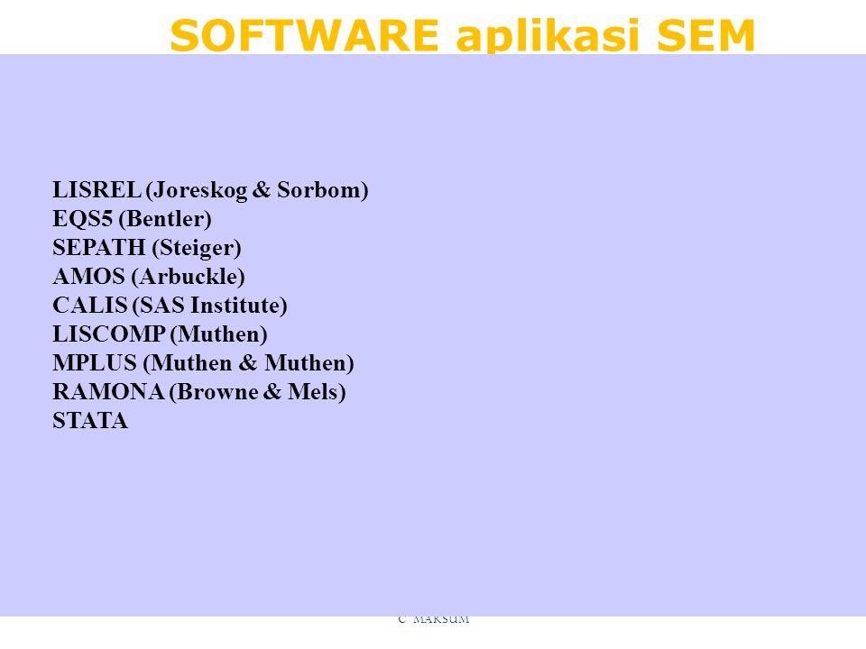 SOFTWARE aplikasi SEM LISREL (Joreskog & Sorbom) EQS5 (Bentler)