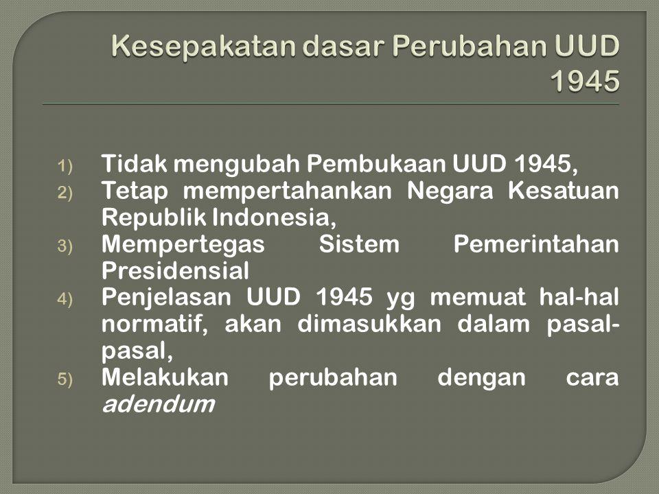 Kesepakatan dasar Perubahan UUD 1945