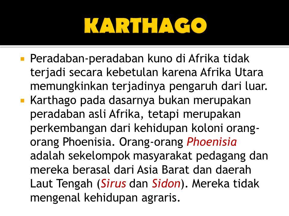 KARTHAGO Peradaban-peradaban kuno di Afrika tidak terjadi secara kebetulan karena Afrika Utara memungkinkan terjadinya pengaruh dari luar.