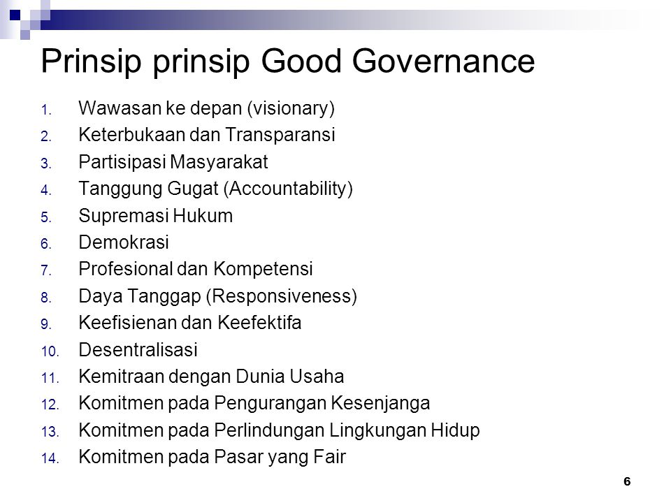 Prinsip prinsip Good Governance