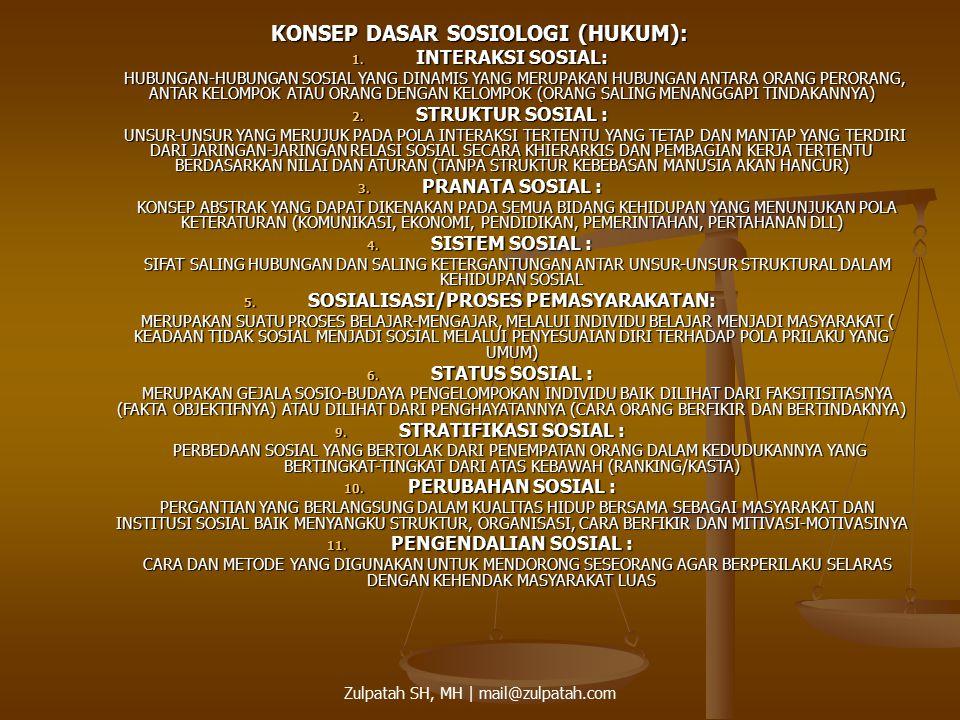 KONSEP DASAR SOSIOLOGI (HUKUM): SOSIALISASI/PROSES PEMASYARAKATAN:
