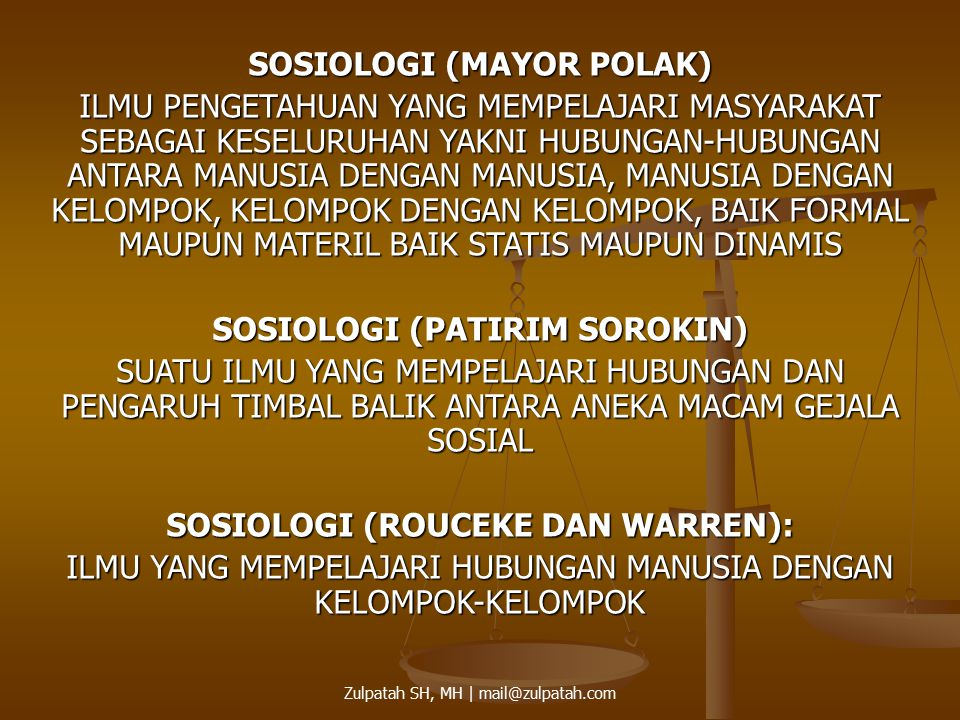 SOSIOLOGI (MAYOR POLAK)