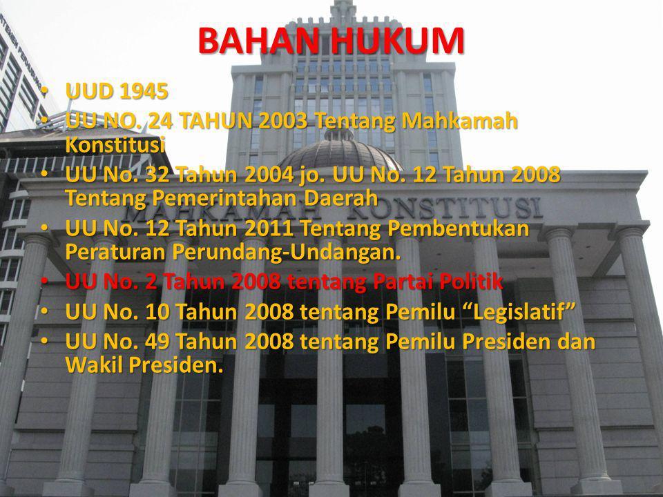 BAHAN HUKUM UUD 1945 UU NO. 24 TAHUN 2003 Tentang Mahkamah Konstitusi