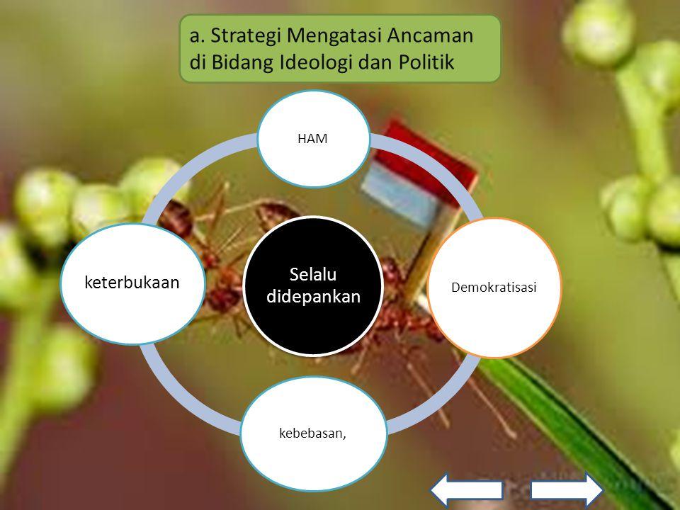 a. Strategi Mengatasi Ancaman di Bidang Ideologi dan Politik