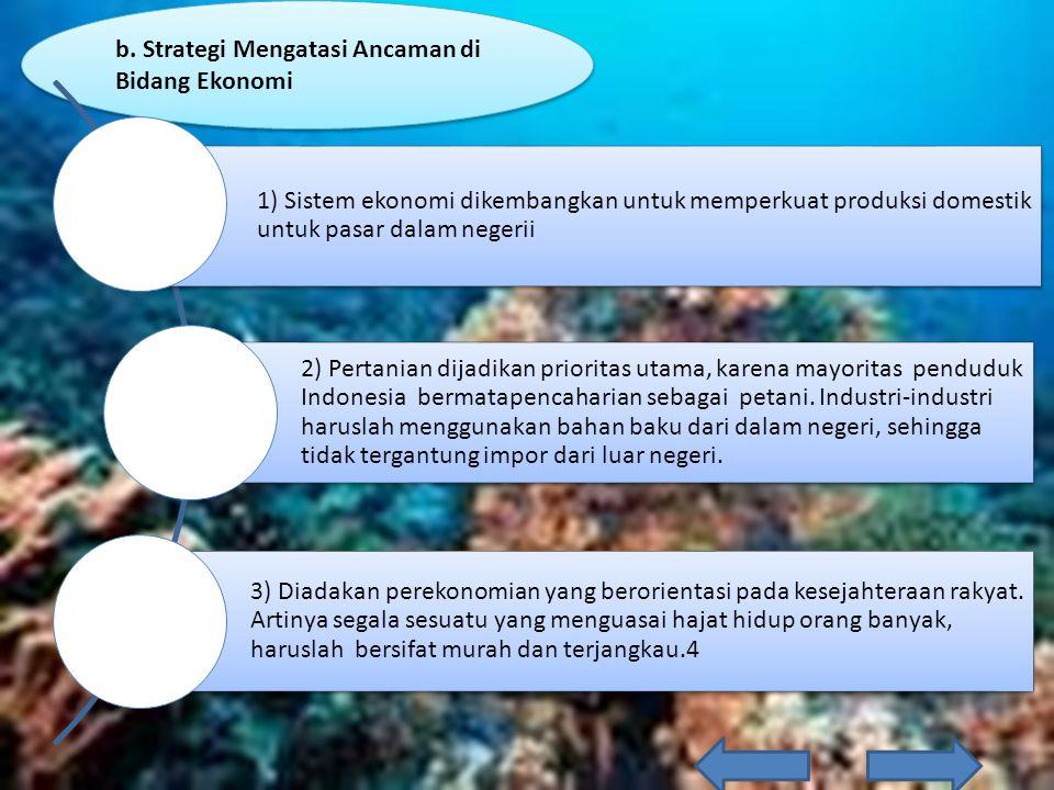 b. Strategi Mengatasi Ancaman di Bidang Ekonomi