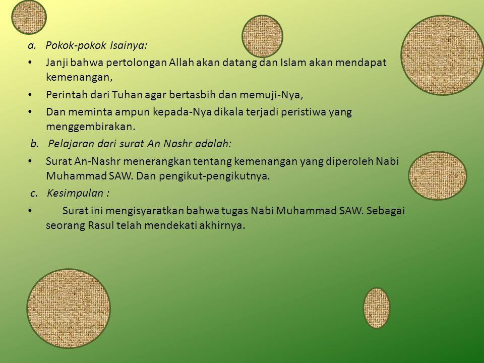 a. Pokok-pokok Isainya: