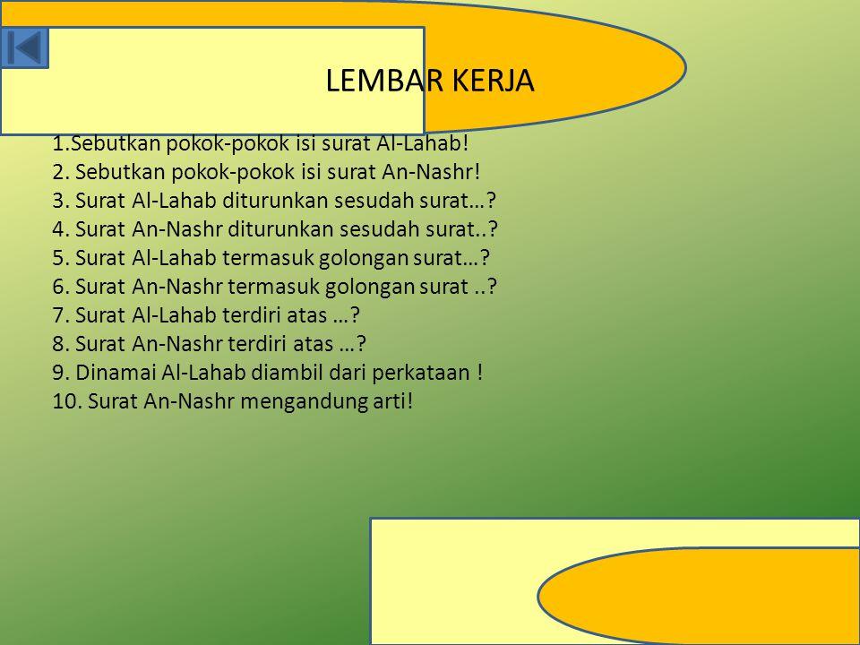 LEMBAR KERJA 1.Sebutkan pokok-pokok isi surat Al-Lahab!