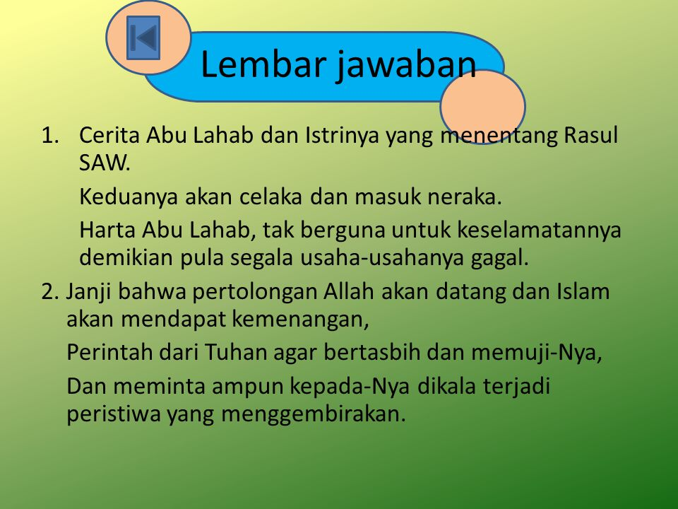 Lembar jawaban Cerita Abu Lahab dan Istrinya yang menentang Rasul SAW.