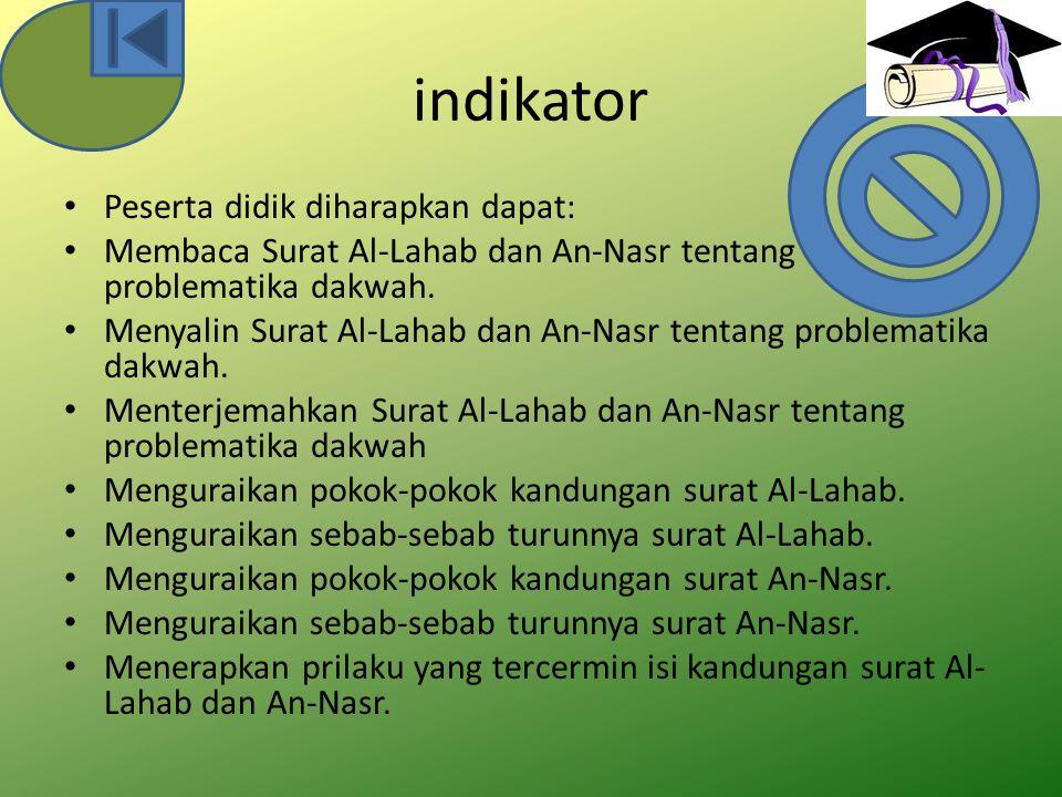 indikator Peserta didik diharapkan dapat: