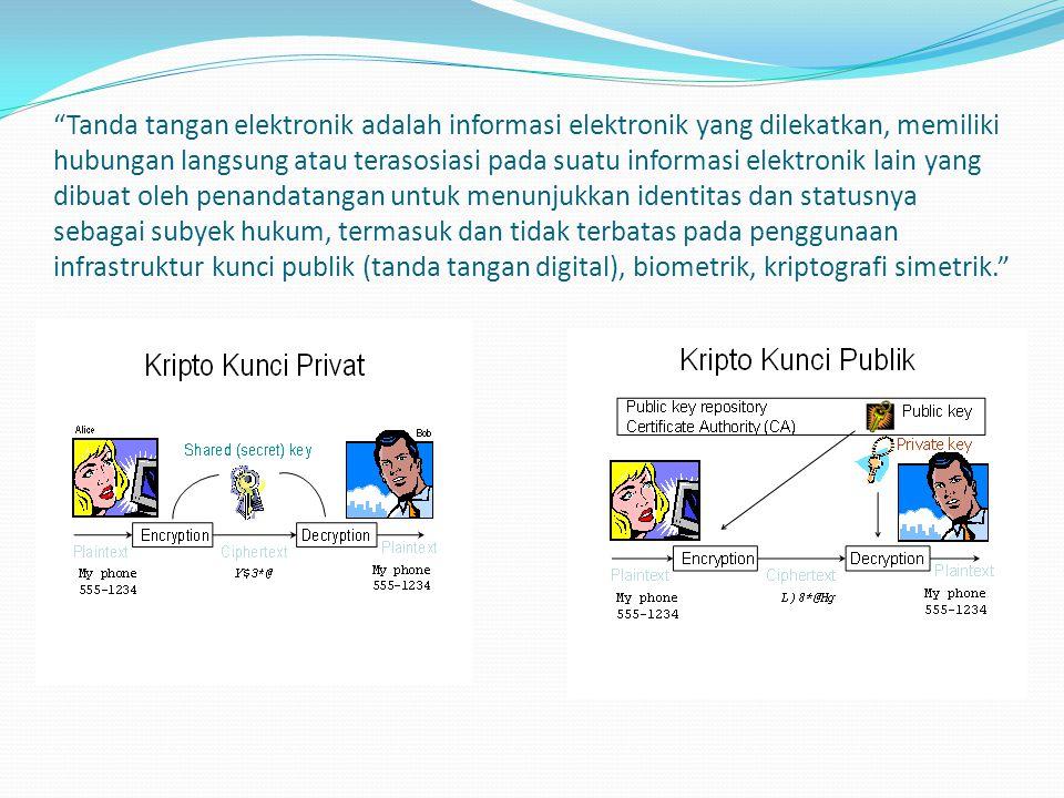 Tanda tangan elektronik adalah informasi elektronik yang dilekatkan, memiliki hubungan langsung atau terasosiasi pada suatu informasi elektronik lain yang dibuat oleh penandatangan untuk menunjukkan identitas dan statusnya sebagai subyek hukum, termasuk dan tidak terbatas pada penggunaan infrastruktur kunci publik (tanda tangan digital), biometrik, kriptografi simetrik.