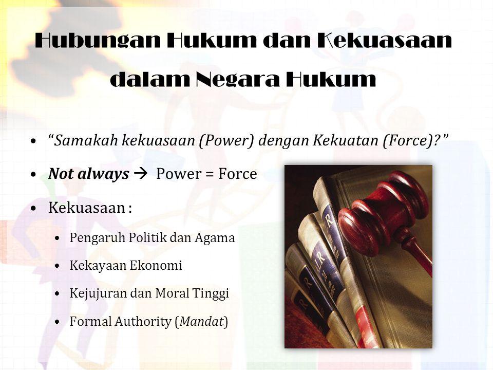 Hubungan Hukum dan Kekuasaan dalam Negara Hukum