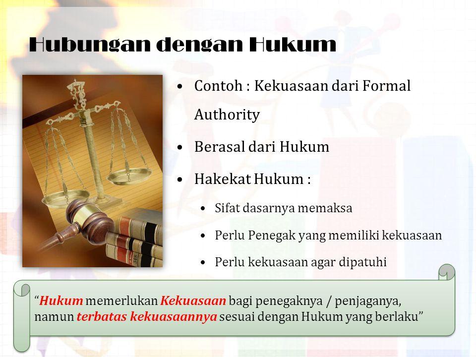 Hubungan dengan Hukum Contoh : Kekuasaan dari Formal Authority
