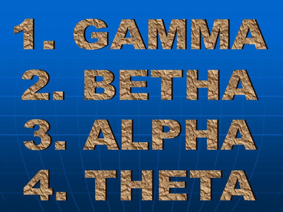 1. GAMMA 2. BETHA 3. ALPHA 4. THETA