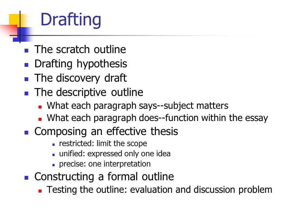 Drafting The scratch outline Drafting hypothesis The discovery draft