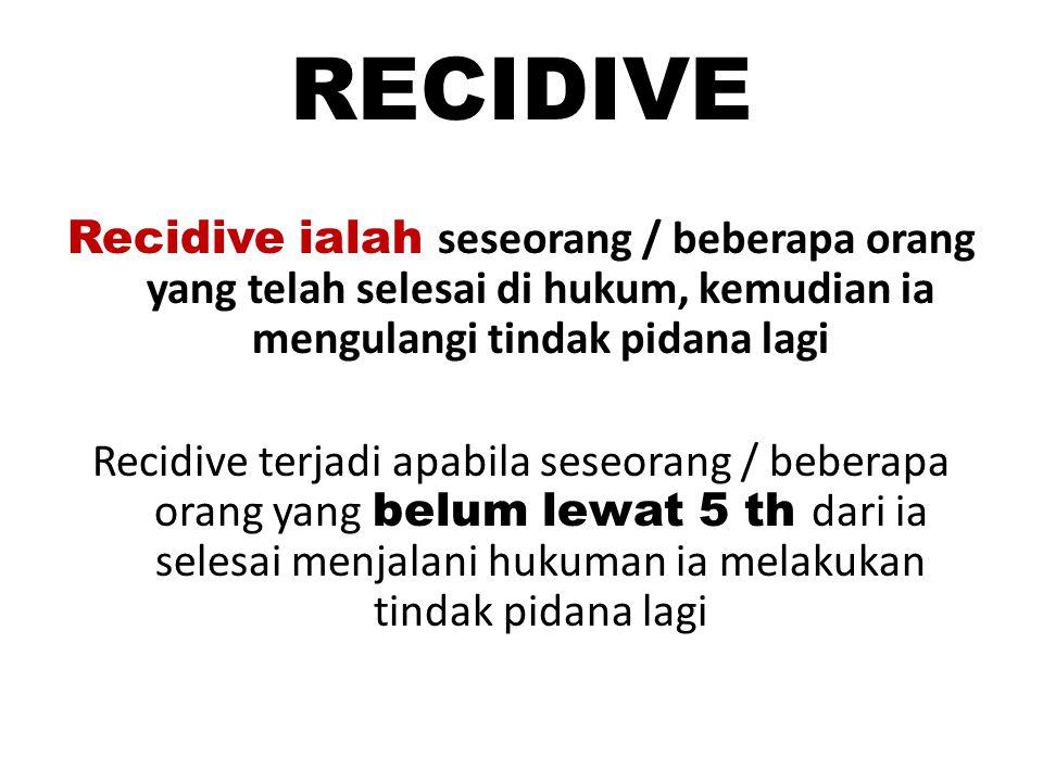 RECIDIVE Recidive ialah seseorang / beberapa orang yang telah selesai di hukum, kemudian ia mengulangi tindak pidana lagi.
