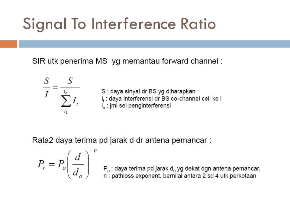 Signal To Interference Ratio
