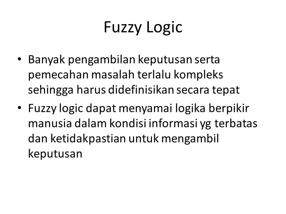 Fuzzy Logic Banyak pengambilan keputusan serta pemecahan masalah terlalu kompleks sehingga harus didefinisikan secara tepat.