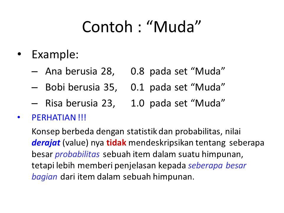 Contoh : Muda Example: Ana berusia 28, 0.8 pada set Muda