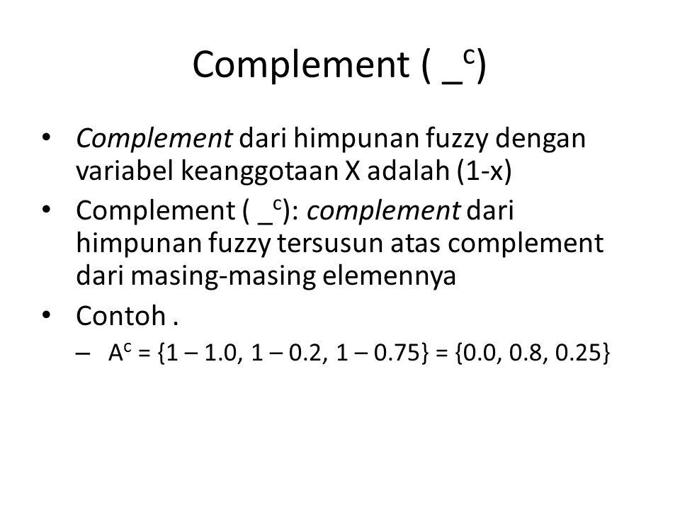 Complement ( _c) Complement dari himpunan fuzzy dengan variabel keanggotaan X adalah (1-x)