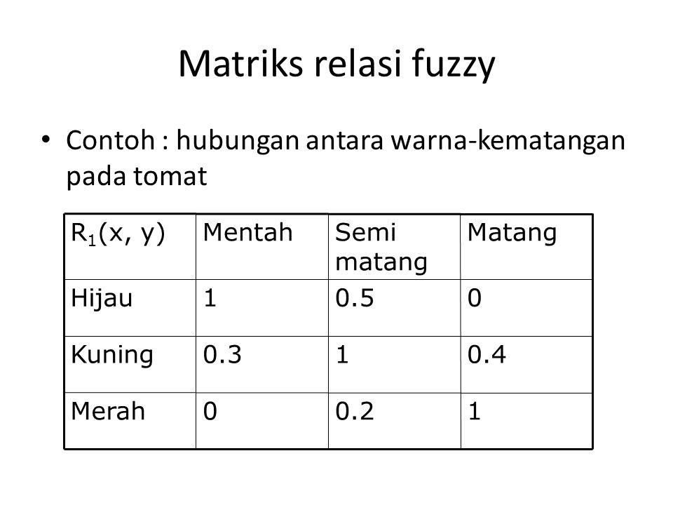 Matriks relasi fuzzy Contoh : hubungan antara warna-kematangan pada tomat. 1. 0.2. Merah. 0.4. 0.3.
