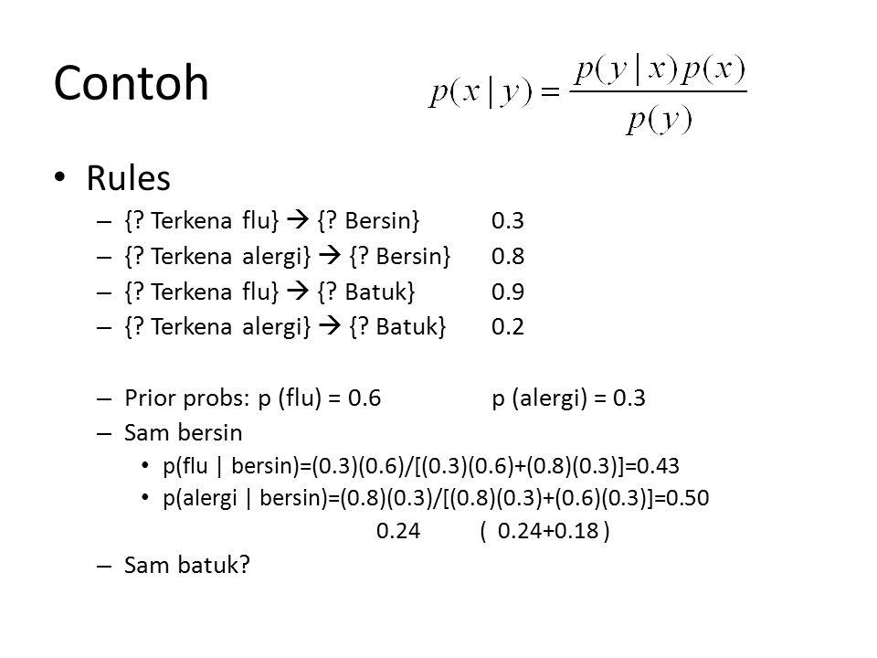 Contoh Rules { Terkena flu}  { Bersin} 0.3