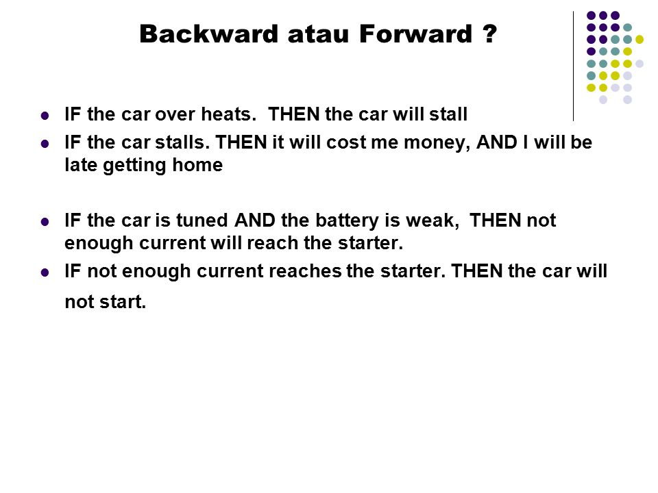 Backward atau Forward IF the car over heats. THEN the car will stall