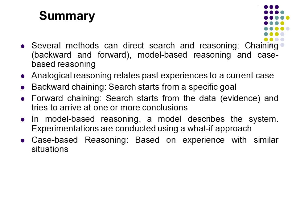 Summary Several methods can direct search and reasoning: Chaining (backward and forward), model-based reasoning and case-based reasoning.