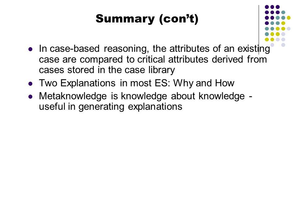 Summary (con't)