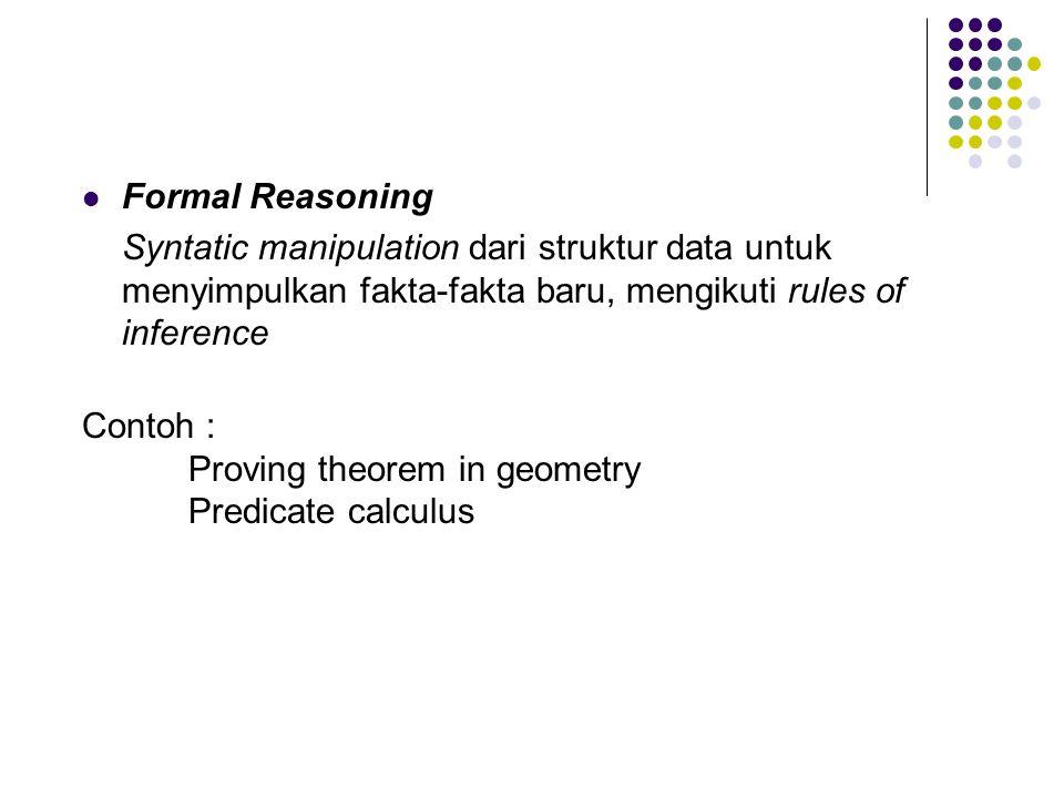 Formal Reasoning Syntatic manipulation dari struktur data untuk menyimpulkan fakta-fakta baru, mengikuti rules of inference.