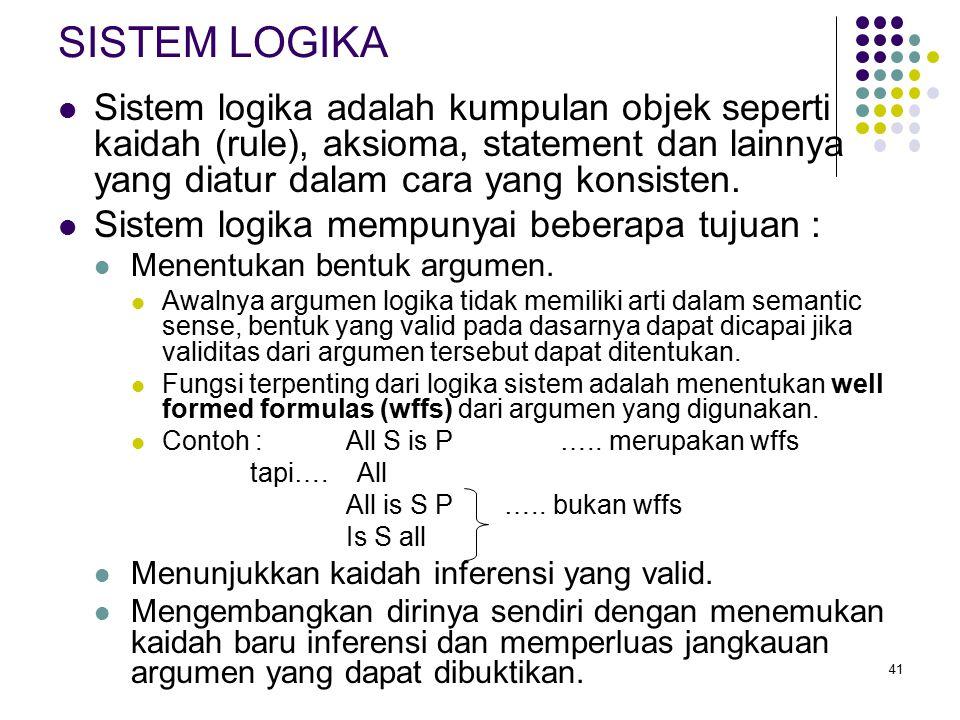SISTEM LOGIKA Sistem logika adalah kumpulan objek seperti kaidah (rule), aksioma, statement dan lainnya yang diatur dalam cara yang konsisten.