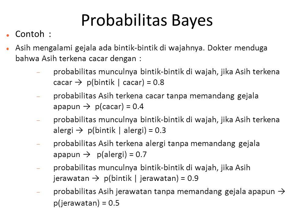 Probabilitas Bayes Contoh :
