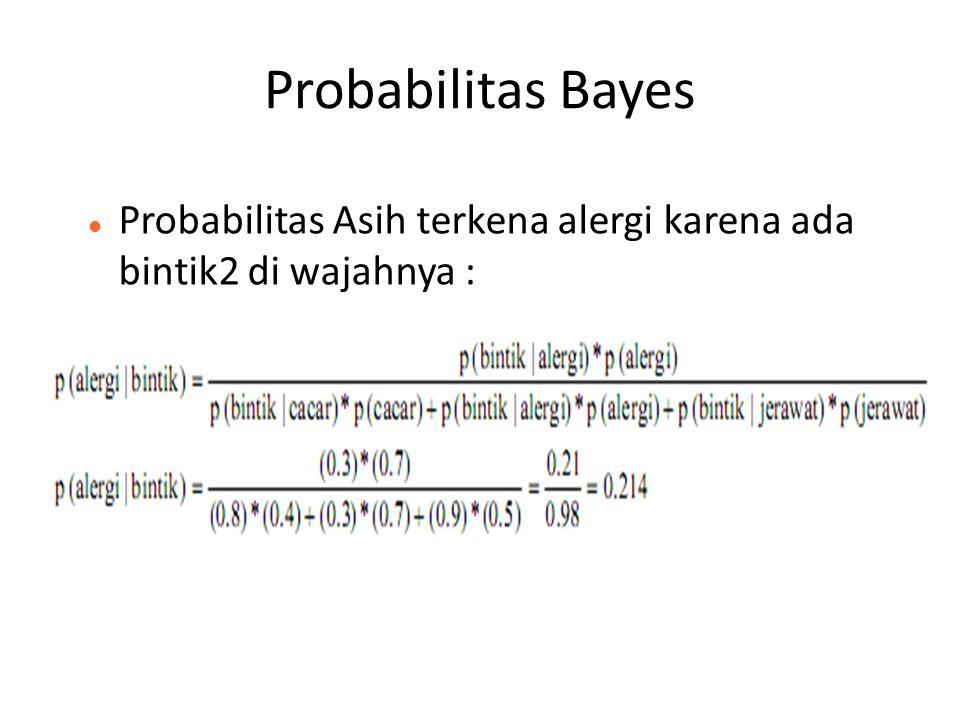 Probabilitas Bayes Probabilitas Asih terkena alergi karena ada bintik2 di wajahnya : 32