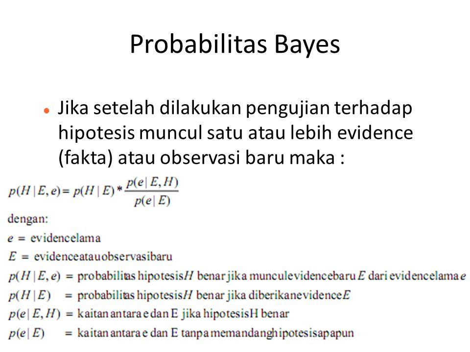 Probabilitas Bayes Jika setelah dilakukan pengujian terhadap hipotesis muncul satu atau lebih evidence (fakta) atau observasi baru maka :