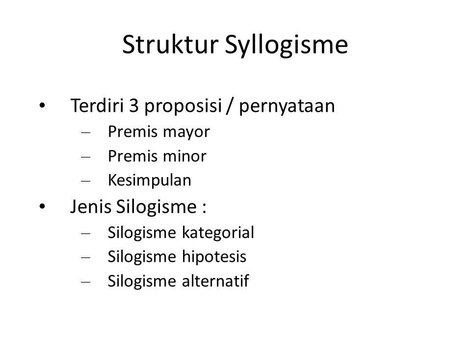 Struktur Syllogisme Terdiri 3 proposisi / pernyataan Jenis Silogisme :