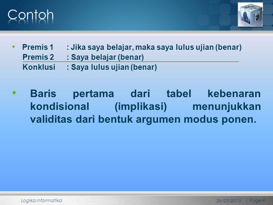 Contoh Premis 1 : Jika saya belajar, maka saya lulus ujian (benar) Premis 2 : Saya belajar (benar)