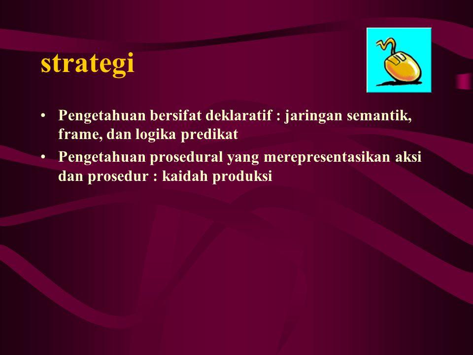 strategi Pengetahuan bersifat deklaratif : jaringan semantik, frame, dan logika predikat.