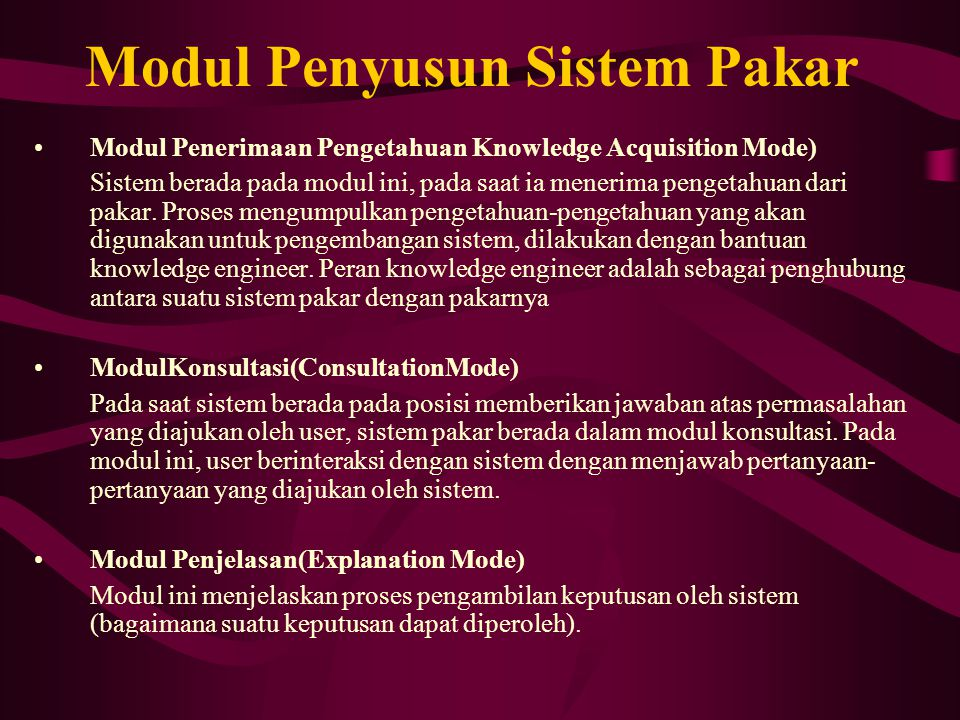 Modul Penyusun Sistem Pakar