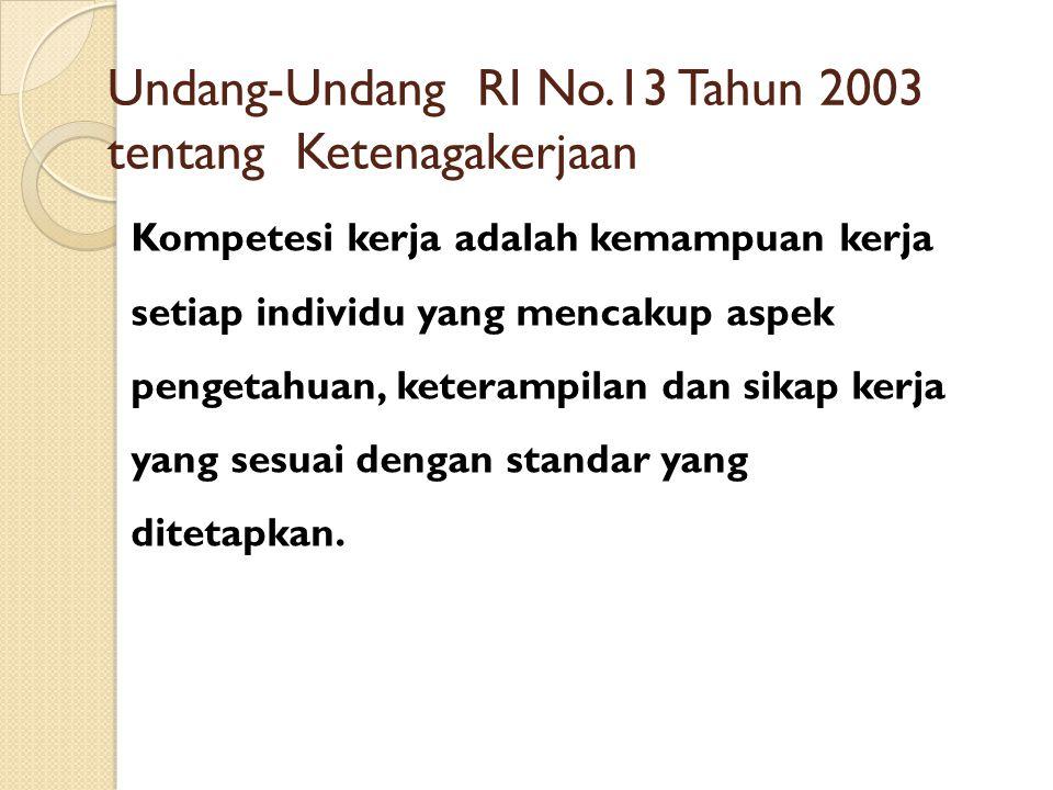 Undang-Undang RI No.13 Tahun 2003 tentang Ketenagakerjaan