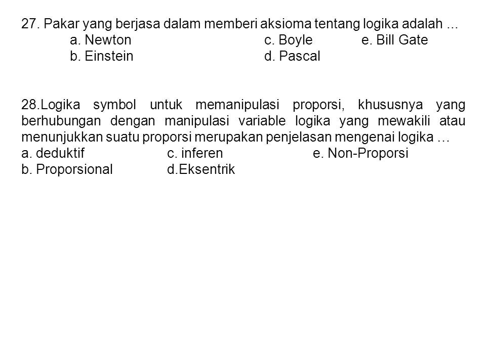 27. Pakar yang berjasa dalam memberi aksioma tentang logika adalah ...