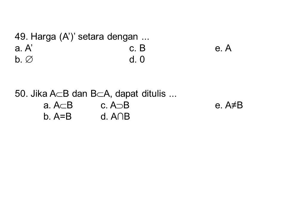 49. Harga (A')' setara dengan ...