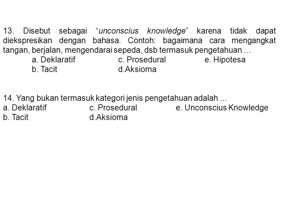 13. Disebut sebagai unconscius knowledge karena tidak dapat diekspresikan dengan bahasa. Contoh: bagaimana cara mengangkat tangan, berjalan, mengendarai sepeda, dsb termasuk pengetahuan …