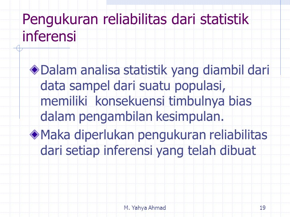 Pengukuran reliabilitas dari statistik inferensi