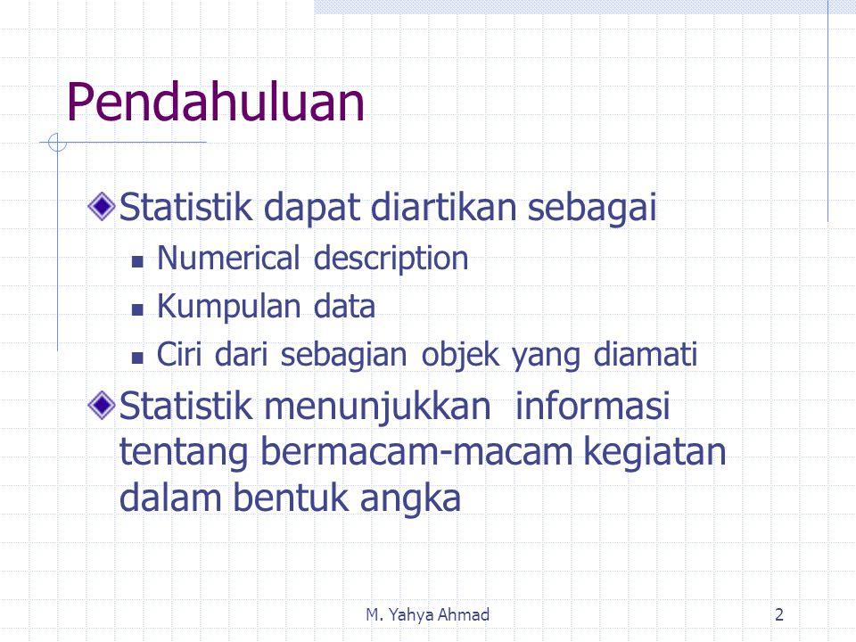 Pendahuluan Statistik dapat diartikan sebagai